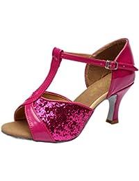 LEIT YFF Les Femmes Cadeaux Chaussures de Danse de Bal Danse Latine Chaussures de Danse Tango 8CM, Rouge, 39