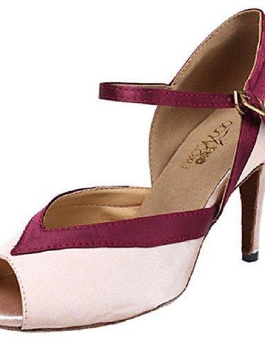 ShangYi Chaussures de danse(Rose) -Personnalisables-Talon Aiguille-Satin-Latine Pink