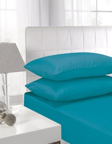 affinity-soft-touch-fitted-sheet-teal-double-bed-by-textiles-direct