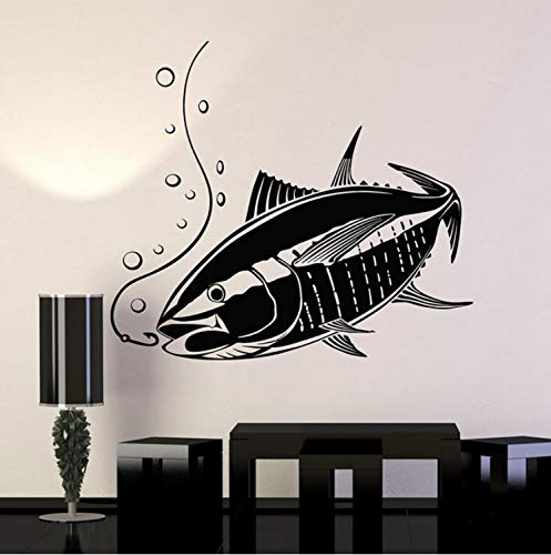 Fisch Angelrute Vinyl Wandtattoos Jagd Shop Home Decor Art Wandaufkleber 58x51 cm