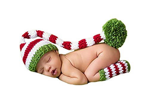 Kostüm Baby Elf - DELEY Baby Crochet Knit Christmas Elf Langen Schwänze der Puschel Hut Kostüm Baby Kleidung Foto Requisiten 0-6 Monate