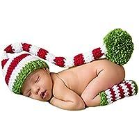 DELEY Bebé Crochet Tejer Navidad Elf Largas Colas Pompón Sombrero de  Disfraz Infantil Ropa Photo Props 914c85350a5