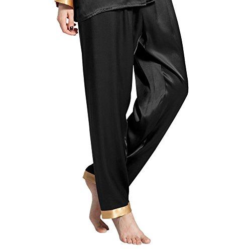 Lilysilk Pantalon Fluide en Soie 22 Momme Liseré Doré Bas de Pyjama Femme 100% Soie Noir