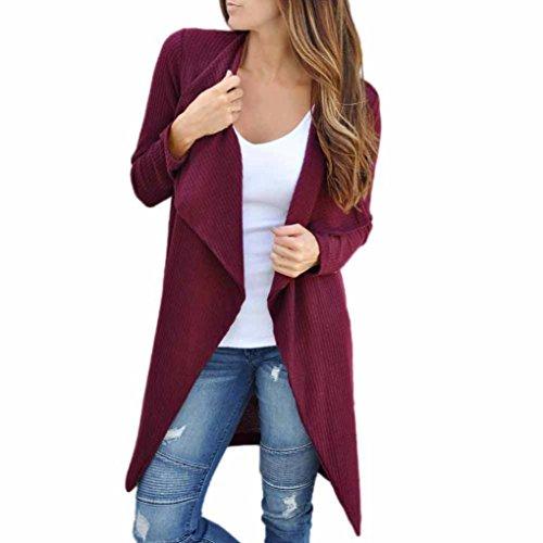 Strickjacke Damen, ZIYOU Bekleidung Frauen Mäntel / Mode Jacken Frühling Herbst (Rot, M)