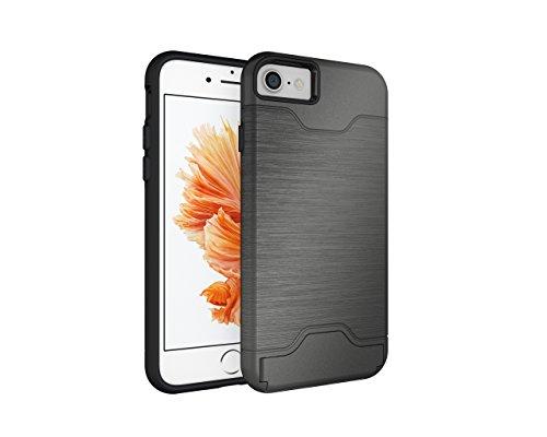 Cover iPhone 7, CaseLover Rigida Custodia con Porta Carte Integrato per Apple iPhone 7 (4.7 Pollici) Ultra Sottile PC Difficile Case Protettiva Dura Antiurto Hard Bumper con Auto Atand Anti-graffio An Grigio