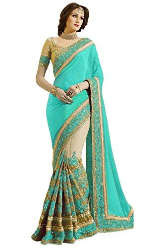 Panash Trends Women's Heavy Embroidery Work Satin Net Saree (UJJ.K663.Pe.T.O.P.G.B Color)