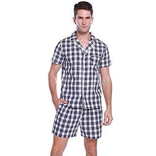 Hawiton Herren Schlafanzug Kurz Sommer Kariert Nachtwäsche Pyjama Shorts Schlafoberteil mit Kragen Knöpfeleiste (Schwarz, XX-Large)