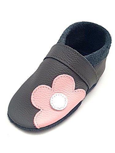little foot company® 392 Krabbelschuhe Babyschuhe Lauflernschuhe Blume weiches Leder steingrau 16/17 ca. 6-10 Monate (Leder-schuhe Weiche Blumen)