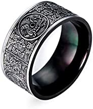 Retro men steel ring black Individuality Rings jewelry-US9 size