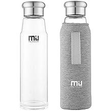 MIU COLOR® Stilvolle Tragbare 700ml Glasflasche Größere Kapazität Trinkflasche - Nylon Tasche für Auto(onhe Teesieb, grau)