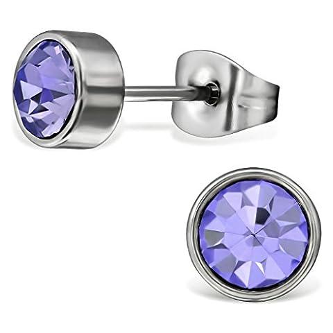 EYS JEWELRY® Damen-Ohrringe Kreis rund 7 x 7 mm Zirkonia Edelstahl tansanit-lila im Schmuck-Etui Ohrstecker Stecker