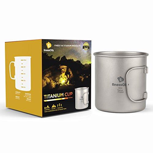 Titan Tasse (450ml/600ml) Camping Becher mit Maßeinteilung, extra stark Ultra Leicht (Ti), gesunde und umweltfreundliche Cup für Reisen/Camping in einfach Store Tuch Fall (600ml) Gesund Becher