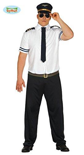 für Herren Pilot Fasching Herrenkostüm Uniform Kapitän M/L, Größe:L (Halloween-kostüme-pilot)