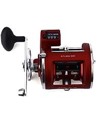 Pesca Spining Carrete Izquierda/Mano Derecha 12Ball Rodamientos con eléctrica Multiplicador de profundidad de pesca frente rueda 30d/50d, Left Hand - 50D