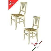 Tommychairs - Set de 2 sillas Shabby Chic Arte POVERA para Cocina, Comedor, Bar