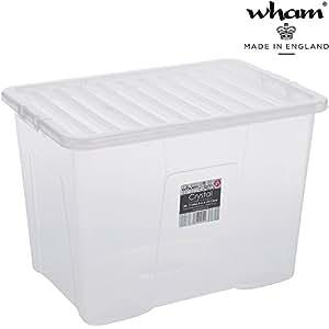 hochwertige xxl box mit deckel 80l 60x40cm lebensmittelecht sicherer clip verschluss stapelbar. Black Bedroom Furniture Sets. Home Design Ideas