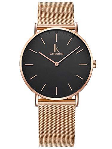 Alienwork Damen Herren Armbanduhr Quarz Rose-Gold mit Metall Mesh Armband Edelstahl schwarz Ultra-flach Slim-Uhr