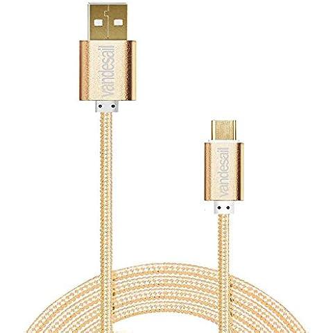 VANDESAIL® Cables USB 3.1 Tipo C, USB 3.0 USB2.0 Convertidor Adaptador de Cable Con el oro Plateado Plug Reversible para Apple nuevo MacBook de 12 inch, Nokia N1, tableta, teléfono móvil y