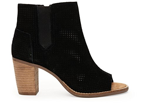 Toms Majorca Donna Ankle Boots Black Suede Perforated