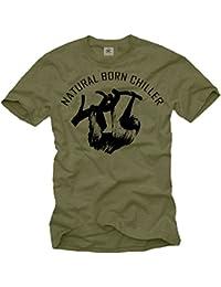 Cooles T-Shirt für Männer NATURAL BORN CHILLER Aufdruck schwarz Größe S-XXXL