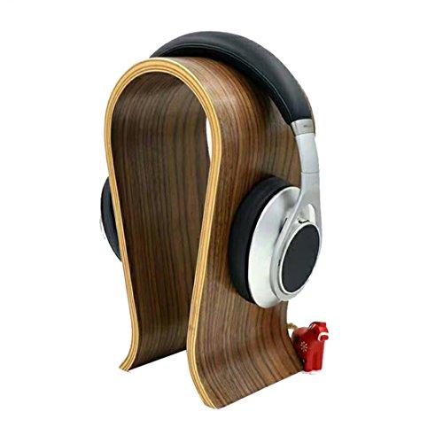 Preisvergleich Produktbild JTENGYAO Holz Kopfhörerhalterung Nussbaum Ohrhörer Ständer Holz Headset Halter für Headset (Hellbraun)