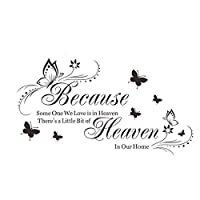 ASTrade Wall Sticker Wall Decal Because Heaven Butterfly English Quotes Decoration Home Diy Room Waterproof Sticker