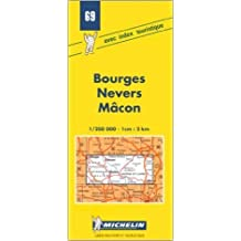 Carte routière : Bourges - Nevers - Mâcon, 69, 1/200000 (Anglais) de Carte Michelin ( 7 mai 1980 )