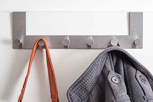 2 X Malin´s edle Türgarderobe – Premium Handtuchhalter fürs Bad aus rostfreiem Stahl – hochwertige Garderobenleisten mit 6 abgerundeten Haken - Schaumgummigeschützten Türhaken (Türfalz von 2 cm)