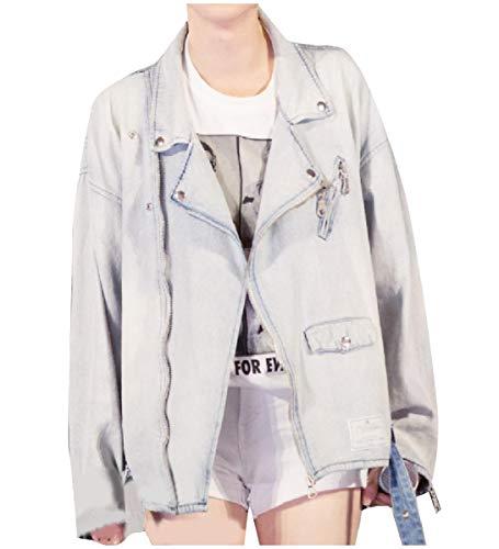 CuteRose Womens Baggy Fashion Biker Long-Sleeve Denim Jean Bomber Jacket Light Blue S - Outdoor Research-womens Vest