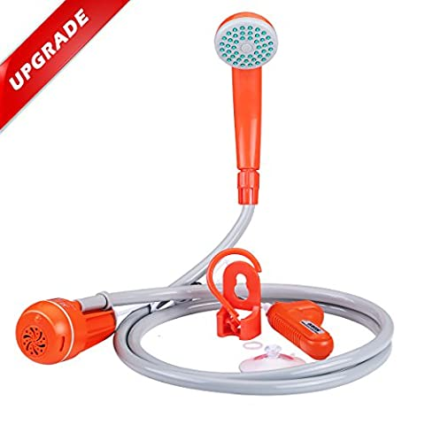 Portable Camping Shower 2017 Upgraded, Acetek USB Rechargeable Handheld Shower Kit with Detachable 2200mAh Battery Pack, 200cm Hose, Shower head and Water Pump for Outdoor, Garden Plant Watering, Camping, Car & Pet Cleaning