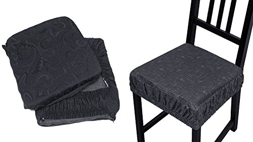 Takestop® set 4 coprisedia cuscini grigio con fascia elastico cuscino per sedie imbottito sfoderabile trama casuale