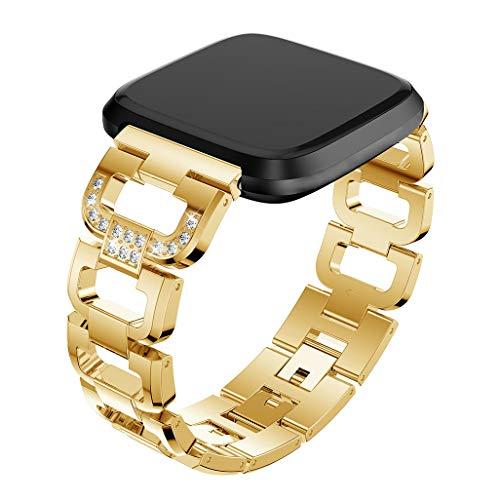 Preisvergleich Produktbild AmaSells für Fitbit Versa Lite Uhr Intelligent Uhr Smart Watch Mode Ersatz Sport D-Wort Kristall Metall Uhrenarmband Armband (Gold)