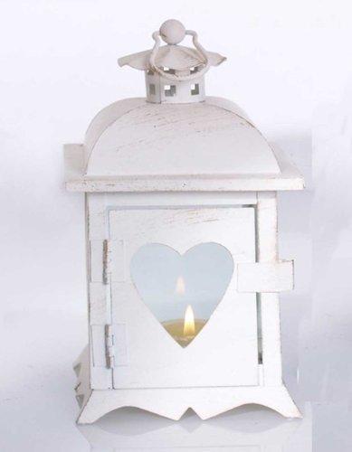 l in weiß mit Herz H 18 cm Windlichthalter Kerzenständer (Kleine Weiße Laternen)