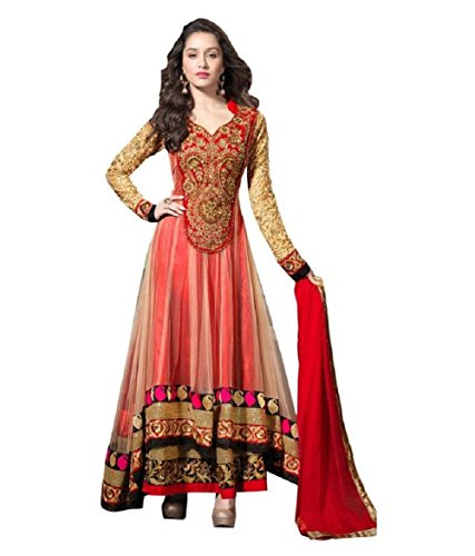 A Fashion Women's Red Georgette Embroidered Semi Stiched Party Wear Salwar Kameez...