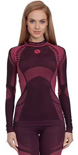 Sesto Senso Damen Funktionsunterwäsche langarm Shirt Thermoaktiv (Schwarz/Weinrot, S)