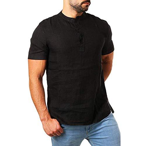 Henry Kurzarm Slim Solid Linen Shirts Casual Business Fit Bluse(Schwarz,XXL) ()