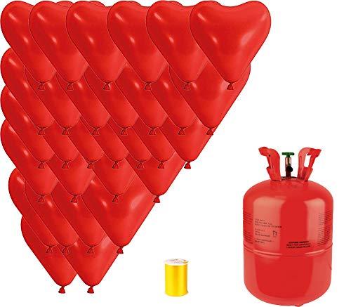 ngas Komplettset 30 Herzballons in rot + Heliumflasche mit 420 Liter Inhalt Folienballons Party Hochzeiten Events Valentinstag Geburtstag Ballon Gas ()