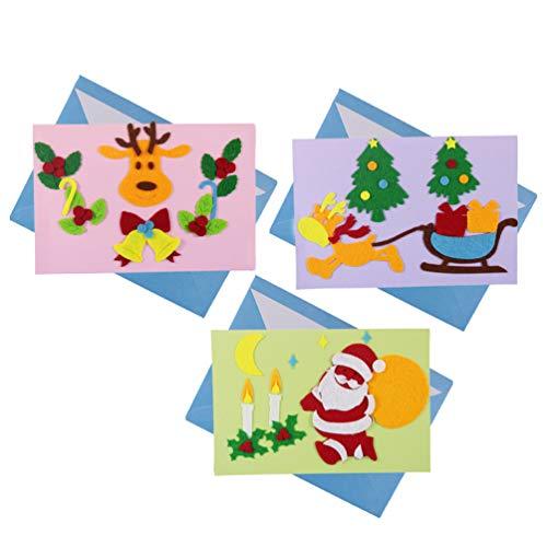 Toyandona biglietto di auguri di natale fai-da-te per bambini 3 cartoline di natale per bambini cervi che fanno forniture fai da te accessori