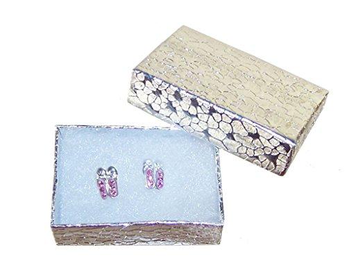 Girls children 925 sterling silver pink crystal ballet shoe stud earrings for pierced ears