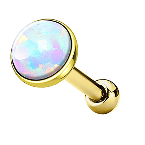 Piercingfaktor Tragus Piercing Helixpiercing Helix Ohr Cartilage Knorpel Stecker mit flachen Opal Steinen Rund Gold Weiß - Opal Und Gold