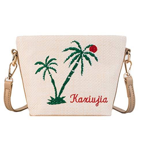 Damen Vintage Woven Plant Stickerei Bucket Bag Crossbody Umhängetasche Stroh Crossbody Tasche Frauen Weben Umhängetasche Runde Sommer Strand Geldbörse und Handtaschen (Beige) -