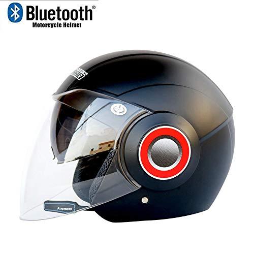 MTTKTTBD Motorradhelm Jethelme Bluetooth-Headset, Klapphelme Motorradhelm Antifogging mit Dual Lens Flip Up Helme Offroad Motocross Schutzkappen Automatic Answer Chopper Woofer