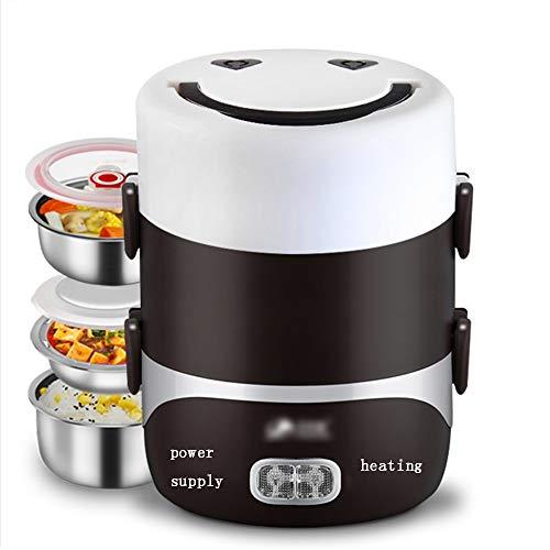 ZXQZ Elektrische heiße Brotdose, Home Office Pluggable elektrische Heizung Hot Reis Artefakt gedämpfte Reis wärmer Lunchbox (Farbe : Coffee Brown, größe : Three Layers) - Hot Pluggable Single