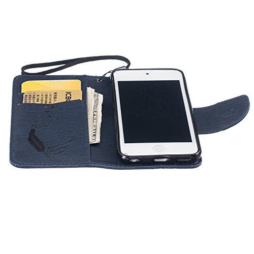 Voguecase® für Apple iPhone 6/6S 4.7 hülle,(Feder/Grau) Kunstleder Tasche PU Schutzhülle Tasche Leder Brieftasche Hülle Case Cover + Gratis Universal Eingabestift Feder/Dunkelblau