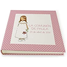 Albúm de fotos Personalizado especial Primera Comunión con Niña y bonita greca rosa alrededor