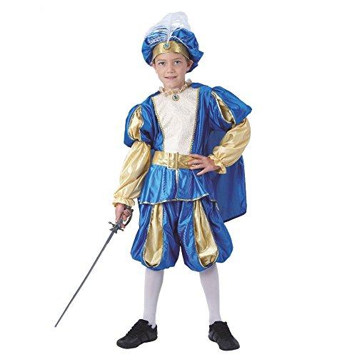 EUROCARNAVALES Kinderkostüm Prinz Azzuro Mittelalter Kostüm blau/Gold Märchenprinz König (10-12 - Kind Mittelalter Prinzen Kostüm