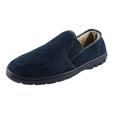 New Mens Navy Blue Faux Suede Luxury Slippers Size UK 7