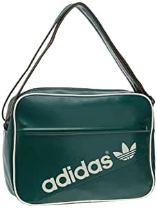 adidas Airliner Perforated Shoulder Bag - Forest/Craft Canvas/Real Green/White Vapour , 38 x 12 x 28 cm