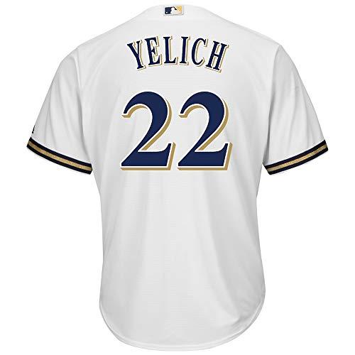 Alte Baseball-jersey (Jersey Baseball Milwaukee Brewers # 22 Yelich Bestickte Baseball-Bekleidung,Men-L)