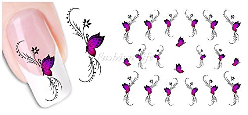 Stickers Pour Ongles avec des Des Papillons- Papillon violet - XF1438 Nail Sticker Tattoo - FashionLife